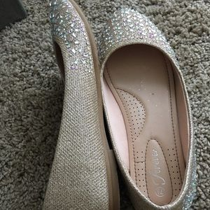 Sparkly champagne color flats